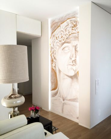 Pintura artística em parede. Interior e exterior.