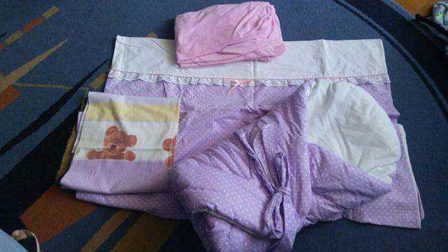 Zestaw: rożek, prześcieradło, ręcznik, poszewka na kołdrę i piwluszka