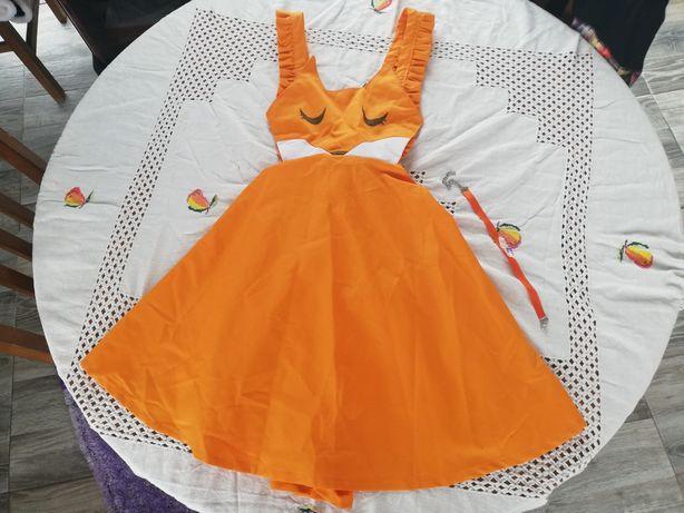 Vestido laranja Maid Fox Cosplay