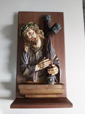 Estátua Religiosa Marfinite e Madeira