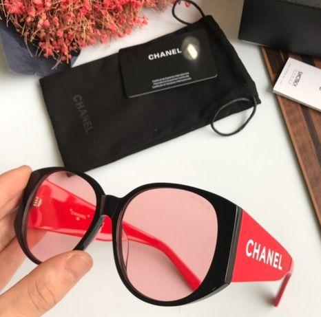 przeciwsłoneczne okulary chanel czerwone czarne napis czerwone szkła