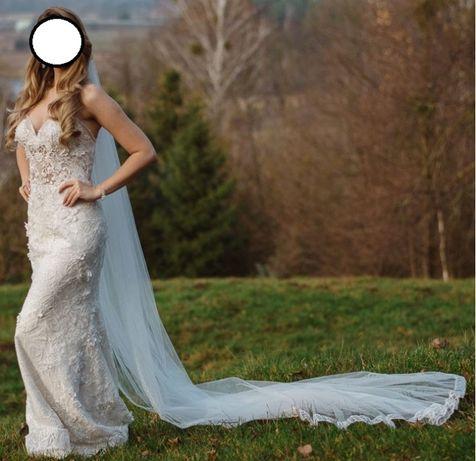 Welon ślubny 3m- obyszwany i delikatnie mieniący się