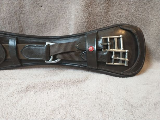 Skórzany popręg ujeżdżeniowy profilowany, gumy. 75 cm brązowy