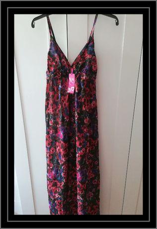 Maxi długa vintage sukienka kwiaty bawełniana nowa metka XS S