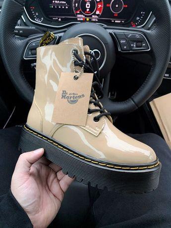 Женские ботинки Dr.Martens Patent Beige ( Premium ) з замком