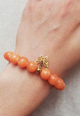Bransoletka pomarańczowa kamień naturalny marmur charmsy pandora