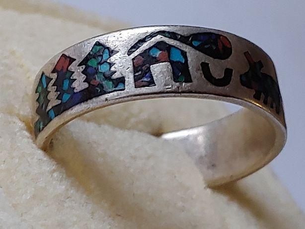 Srebrna duża obrączka naturalne kamienie mozaika.srebro 925.rękodzieło
