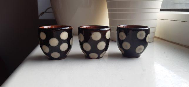 kieliszki ceramiczne vintage PRL 3 szt
