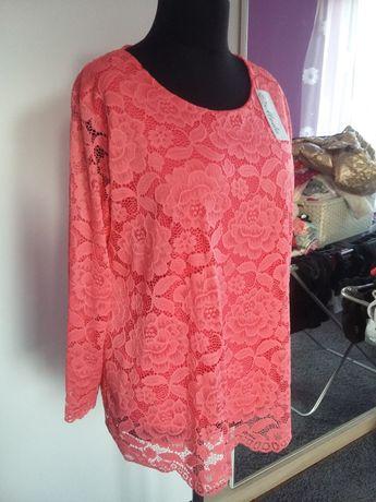 Nowa tunika bluzka koronkowa morelowa łososiowa oversize włoska italy