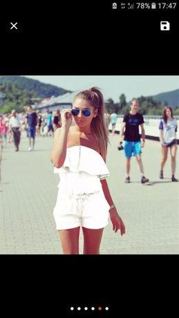 Biały kombinezon kostium plażowy spodenki NOWY rozmiar S