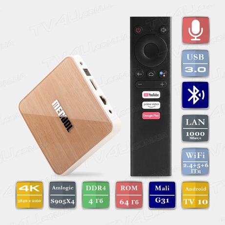 Mecool KM6 Smart TV Box 4/64 Андроид 10 ТВ Приставка KM3 KM1 X96 MI X3