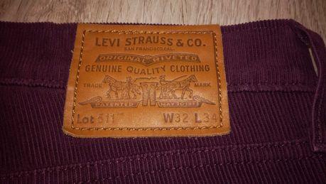Spodnie Levis Lot 511 pas 86 jak nowe sztruksowe bordowe