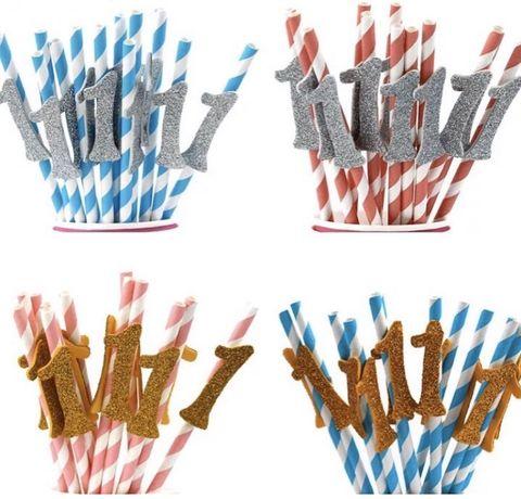 Бумажные одноразовые трубочки для первого дня рождения