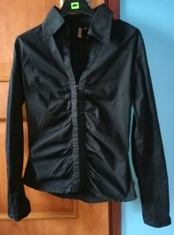 Elegancka czarna koszula z kołnierzykiem, styl goth, gothic, metal. ML