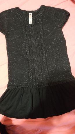 Вязаная туника-платье с люрексом, размер 5Т, б/у