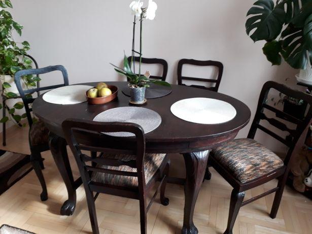 Stół i 5 krzeseł komplet stołowy dębowy pięknie rzeźbiony lwi pazur