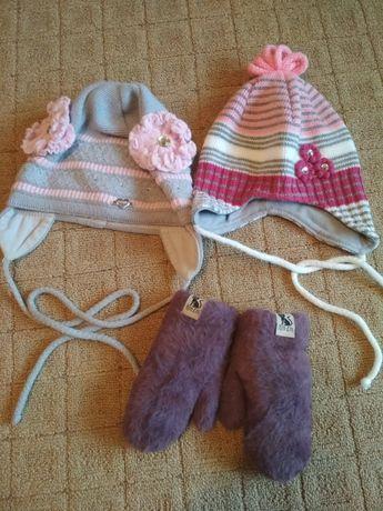 Набор шапок осень зима и варежки зимние Шапка зимняя осенняя
