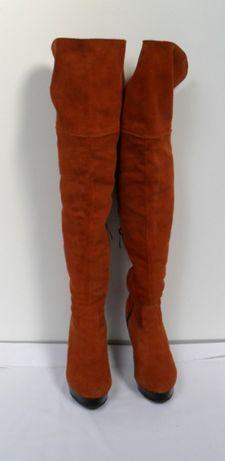 kozaki muszkieterki poza kolano skóra naturalna zamsz rude 36