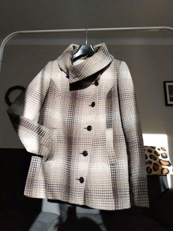 Krótki płaszcz z wełną, brązowy w kratę, rozm M, SUBLEVEL