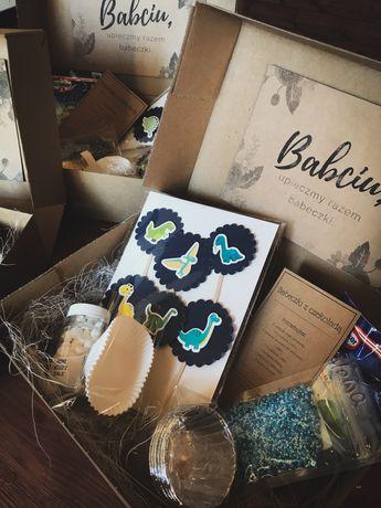 Słodki box pieczeniowy dzień babci babeczki pomysł na prezent pudełko