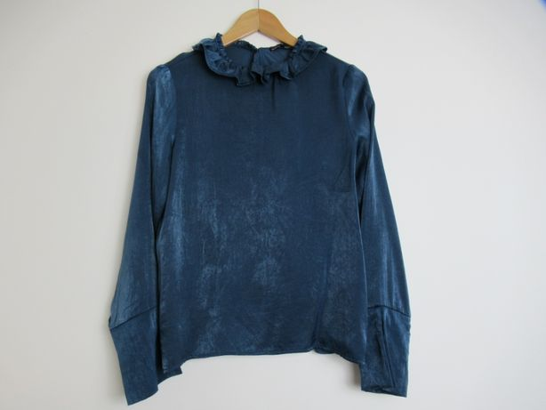 Niebieska granatowa koszula Zara retro vintage kołnierzyk falbanka