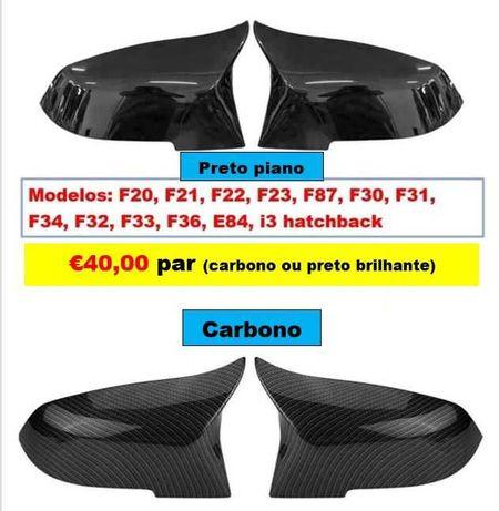 PROMOÇÃO Capas Retrovisor Preto Piano ou Carbono BMW séries 1 2 3 e 4