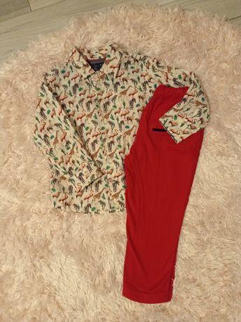 Koszula Next + czerwone spodnie