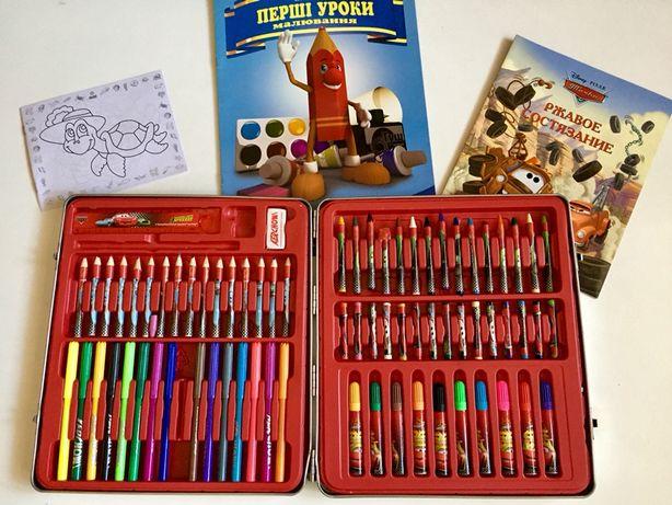 Набор фирменных карандашей,  пастель, фломастеры DISNEY  в металлическ