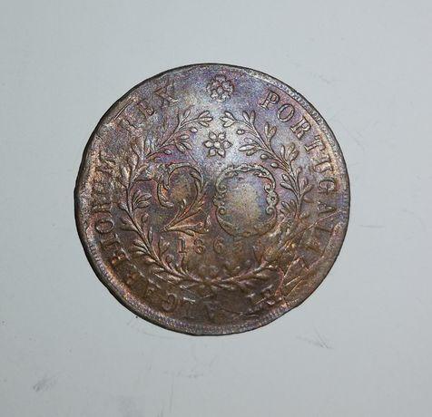 Moeda da Monarquia 20 Reis de 1865 - Cobre