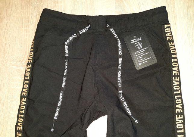 XL 42 44 NOWE z metką czarne Spodnie damskie Wysoki stan guma