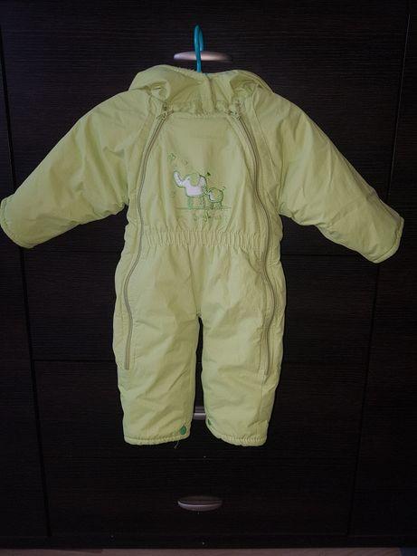Zielony (żywy kolor) kombinezon zimowy ze słonikami roz. 74-80