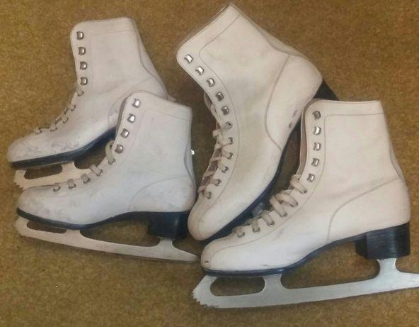 Коньки с белыми ботиночками для девочки (22,5 и27)- 2 пары