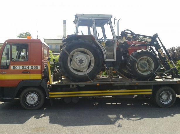 Transport pomoc drogowa laweta wciągarka wypadek maszyn aut ciągnika