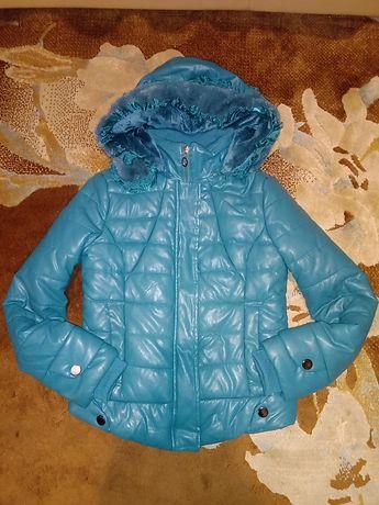Куртка кожаная зимняя, Пуховик кожаный. Кож.зам. Эко кожа. Р 42-44