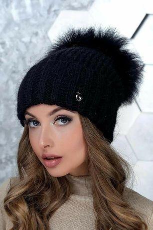 Модные зимние шапки хит 2019-2020 шапка с большим бубоном песец