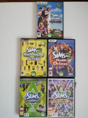 Sims cz. 1, 2,3 ( 5 części, gra PC DVD