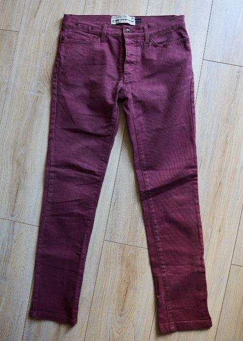 spodnie boyfriend jeansy bordo czerwone ceglaste Wrocław - image 1
