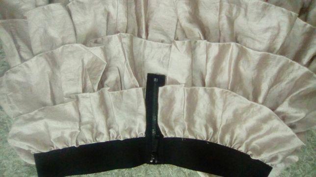 Spódnica z falbanami pudrowy róż