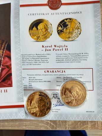 Medale Wielcy Polacy 2XJan Paweł 2 z ceryfikatem