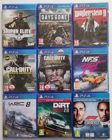 Gry PS4 Call of duty NFS Dirt Days Gone Sniper Elite WRC