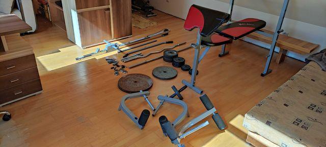 Domowa siłownia, zestaw do ćwiczeń, ławeczka + hantle