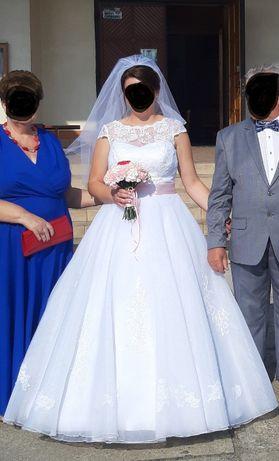 Suknia ślubna biała z różową kokardą 42/XL halka z kołami gratis