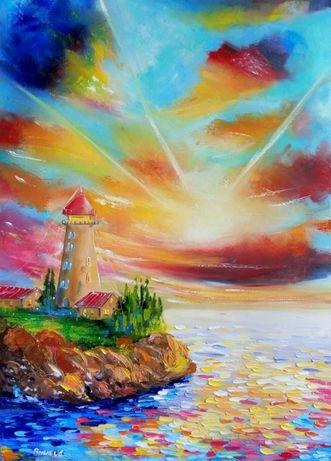"Яркая Картина Маслом Море Маяк 50х70см ""Сказочная даль"""