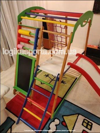 Горка, качели, деревянный детский спортивный комплекс для квартиры
