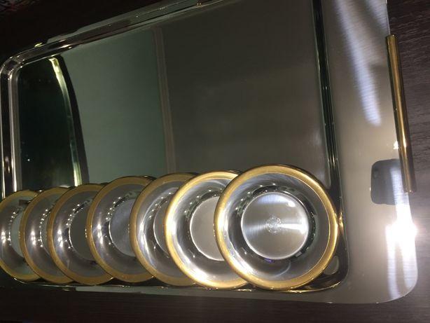Zepter - поднос53х31см, блюдца диам.12см, новые, с позолотой, оригинал