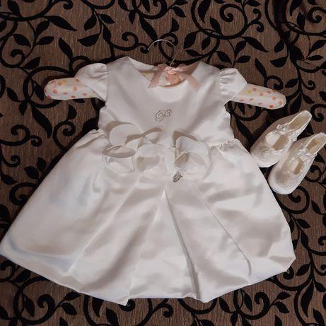Нарядное платье на годик+пенетки без платно