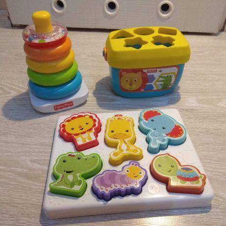 3 x zabawki Fisher Price - piramida, sorter, puzzle