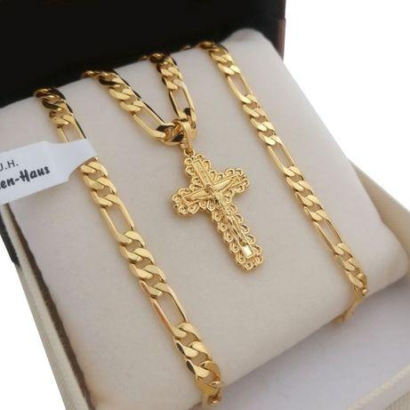Złoty łańcuszek figaro 55cm + krzyżyk 24 karaty GWARANCJA PREZENT