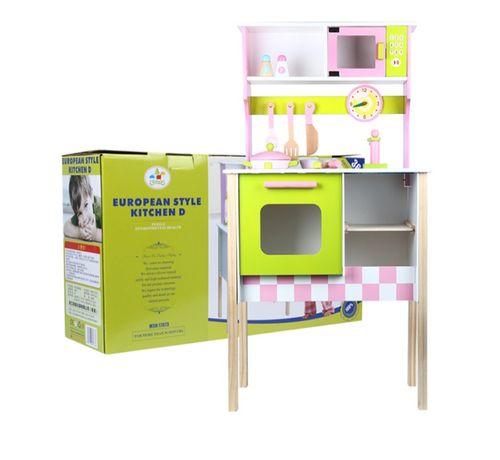 Детская кухня для детей игровая деревянная, розовый цвет,дитяча ігрова