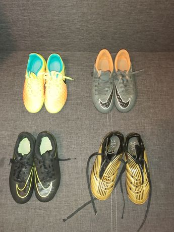 4 pary butów każda za 50 zł, różne rozmiary.